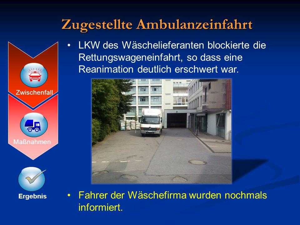 Ergebnis Maßnahmen Zwischenfall  Zugestellte Ambulanzeinfahrt LKW des Wäschelieferanten blockierte die Rettungswageneinfahrt, so dass eine Reanimatio