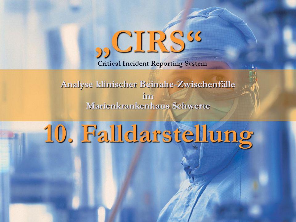 """""""CIRS"""" 10. Falldarstellung Analyse klinischer Beinahe-Zwischenfälle im Marienkrankenhaus Schwerte Critical Incident Reporting System"""
