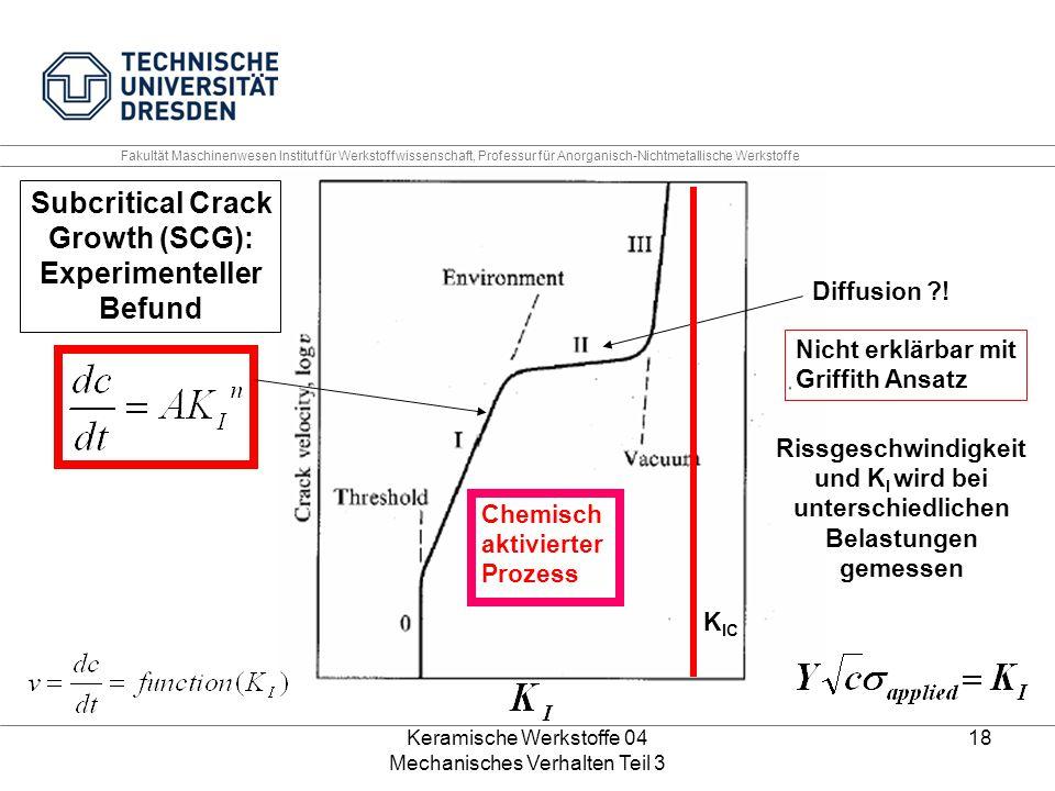 Keramische Werkstoffe 04 Mechanisches Verhalten Teil 3 18 Diffusion ?! Nicht erklärbar mit Griffith Ansatz Chemisch aktivierter Prozess Subcritical Cr