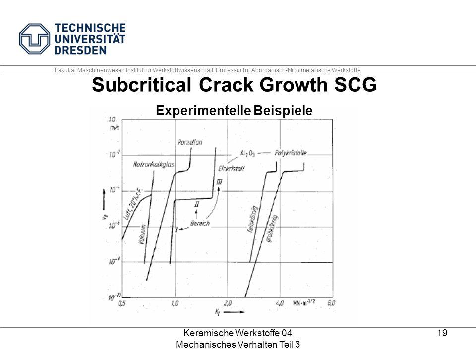 Keramische Werkstoffe 04 Mechanisches Verhalten Teil 3 19 Subcritical Crack Growth SCG Experimentelle Beispiele Fakultät Maschinenwesen Institut für W