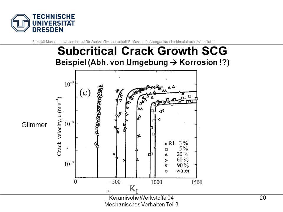 Keramische Werkstoffe 04 Mechanisches Verhalten Teil 3 20 Glimmer Subcritical Crack Growth SCG Beispiel (Abh. von Umgebung  Korrosion !?) Fakultät Ma