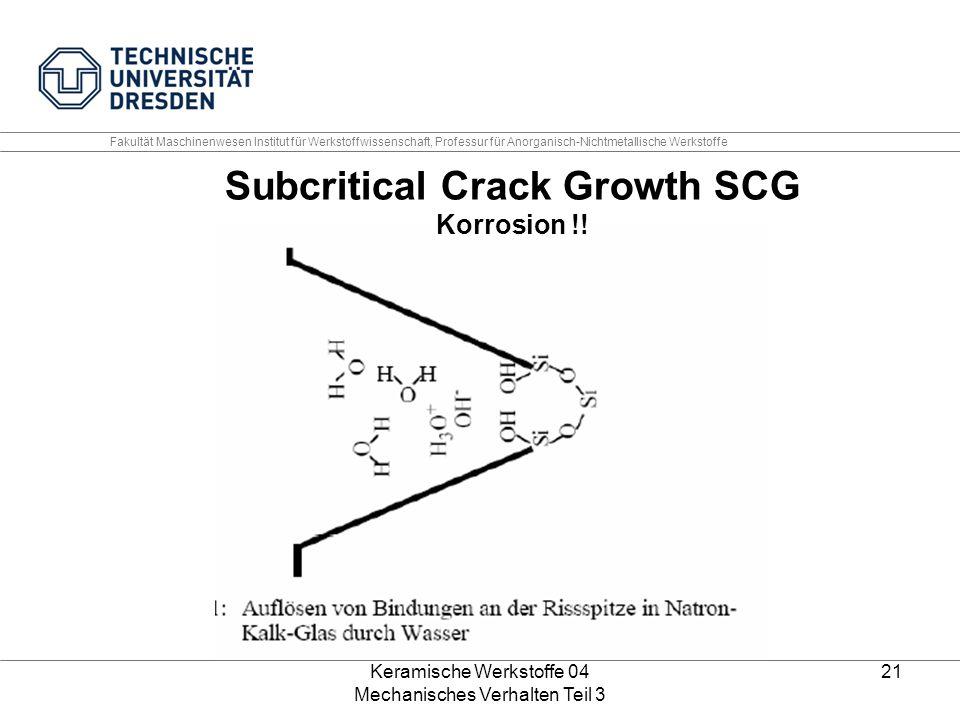 Keramische Werkstoffe 04 Mechanisches Verhalten Teil 3 21 Subcritical Crack Growth SCG Korrosion !! Fakultät Maschinenwesen Institut für Werkstoffwiss