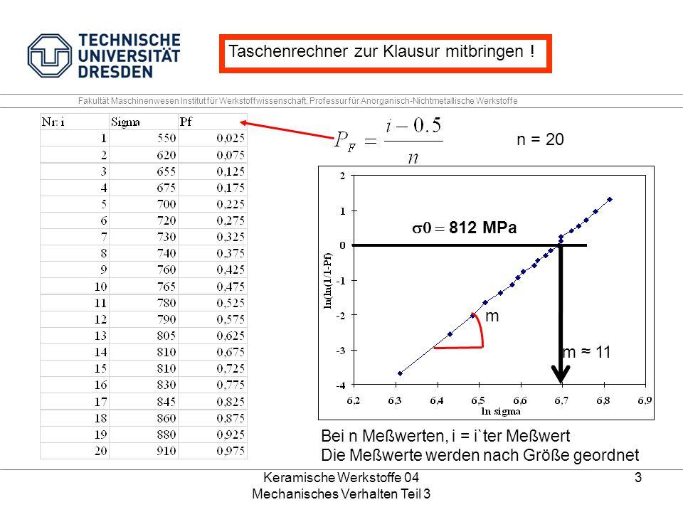 Keramische Werkstoffe 04 Mechanisches Verhalten Teil 3 3 m Bei n Meßwerten, i = i`ter Meßwert Die Meßwerte werden nach Größe geordnet Fakultät Maschin