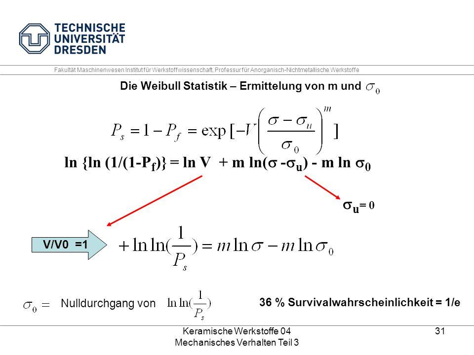 Keramische Werkstoffe 04 Mechanisches Verhalten Teil 3 31 Die Weibull Statistik – Ermittelung von m und Nulldurchgang von 36 % Survivalwahrscheinlichk
