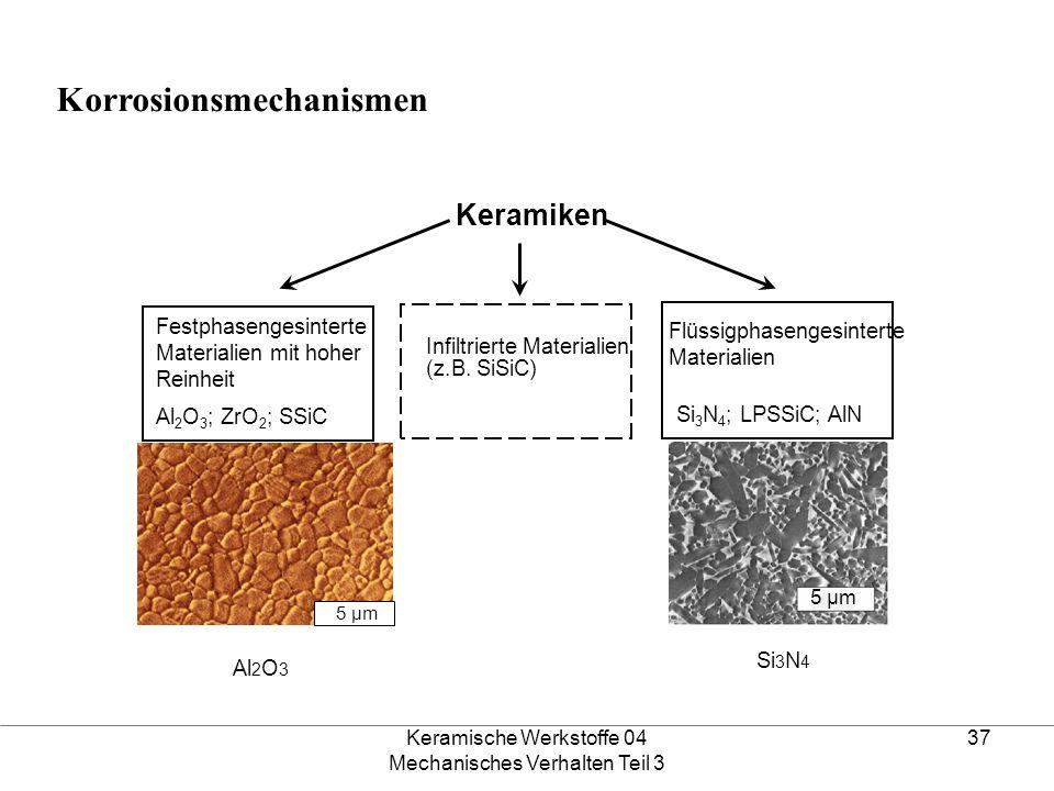 Keramische Werkstoffe 04 Mechanisches Verhalten Teil 3 37 Festphasengesinterte Materialien mit hoher Reinheit Al 2 O 3 ; ZrO 2 ; SSiC Flüssigphasenges