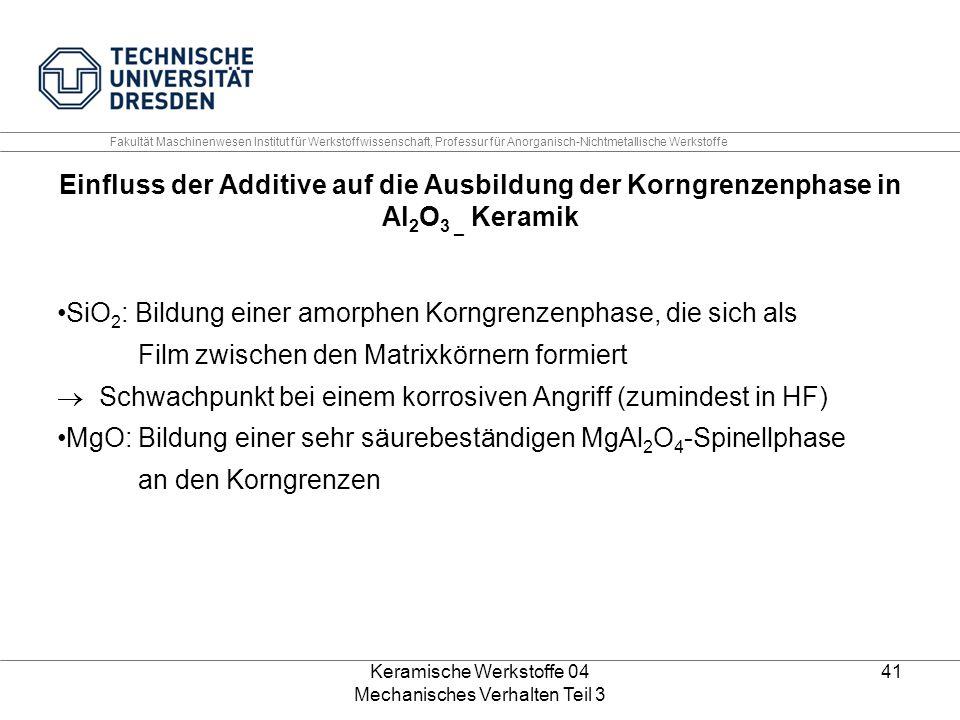 Keramische Werkstoffe 04 Mechanisches Verhalten Teil 3 41 Einfluss der Additive auf die Ausbildung der Korngrenzenphase in Al 2 O 3 _ Keramik SiO 2 :