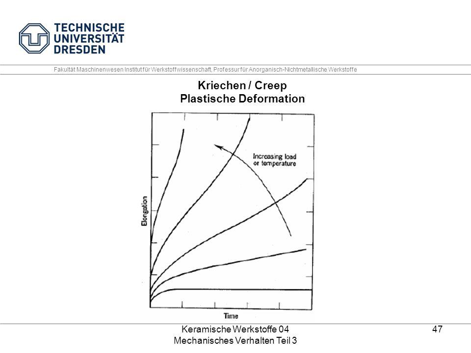 Keramische Werkstoffe 04 Mechanisches Verhalten Teil 3 47 Kriechen / Creep Plastische Deformation Fakultät Maschinenwesen Institut für Werkstoffwissen