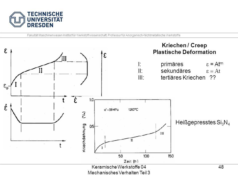 Keramische Werkstoffe 04 Mechanisches Verhalten Teil 3 48 Heißgepresstes Si 3 N 4 Kriechen / Creep Plastische Deformation I:primäres  = At m II: sek