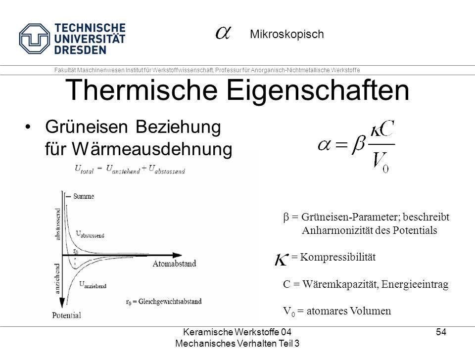 Keramische Werkstoffe 04 Mechanisches Verhalten Teil 3 54 Thermische Eigenschaften Grüneisen Beziehung für Wärmeausdehnung  = Grüneisen-Parameter; b