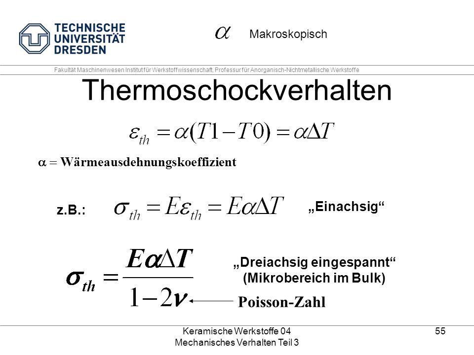 """Keramische Werkstoffe 04 Mechanisches Verhalten Teil 3 55 Thermoschockverhalten  Wärmeausdehnungskoeffizient z.B.: """"Einachsig"""" """"Dreiachsig eingesp"""