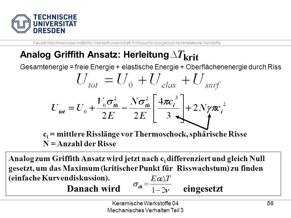 Keramische Werkstoffe 04 Mechanisches Verhalten Teil 3 56 Analog Griffith Ansatz: Herleitung Gesamtenergie = freie Energie + elastische Energie + Ober