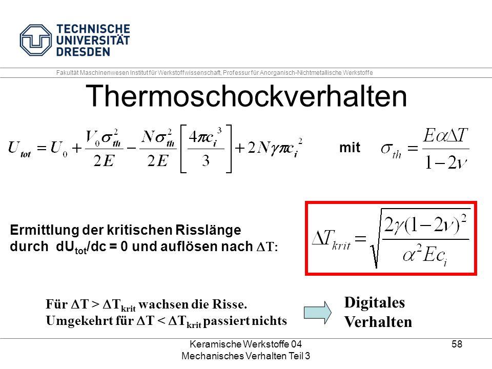 Keramische Werkstoffe 04 Mechanisches Verhalten Teil 3 58 Thermoschockverhalten mit Ermittlung der kritischen Risslänge durch dU tot /dc = 0 und auflö