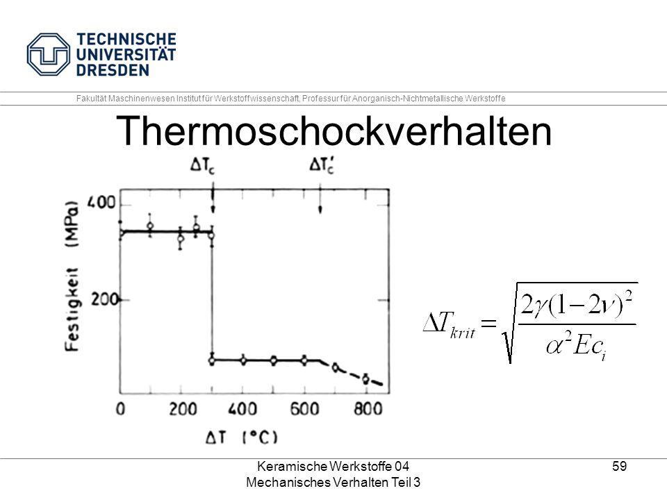 Keramische Werkstoffe 04 Mechanisches Verhalten Teil 3 59 Thermoschockverhalten Fakultät Maschinenwesen Institut für Werkstoffwissenschaft, Professur