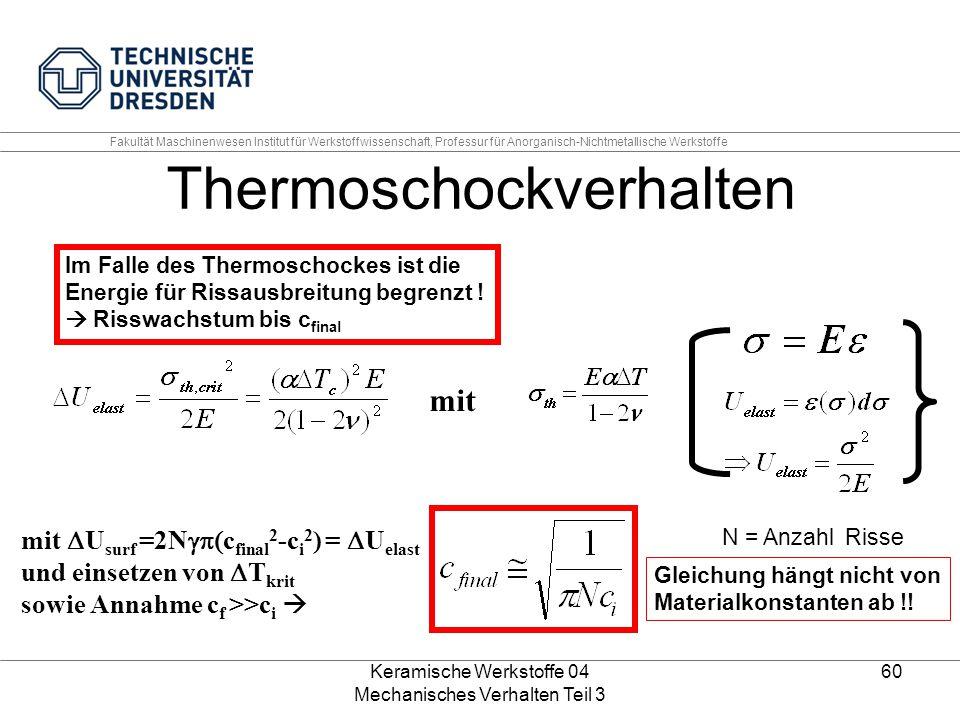 Keramische Werkstoffe 04 Mechanisches Verhalten Teil 3 60 Im Falle des Thermoschockes ist die Energie für Rissausbreitung begrenzt !  Risswachstum bi