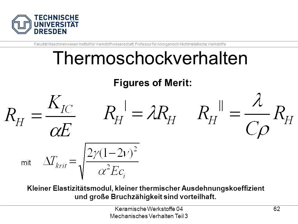 Keramische Werkstoffe 04 Mechanisches Verhalten Teil 3 62 Kleiner Elastizitätsmodul, kleiner thermischer Ausdehnungskoeffizient und große Bruchzähigke