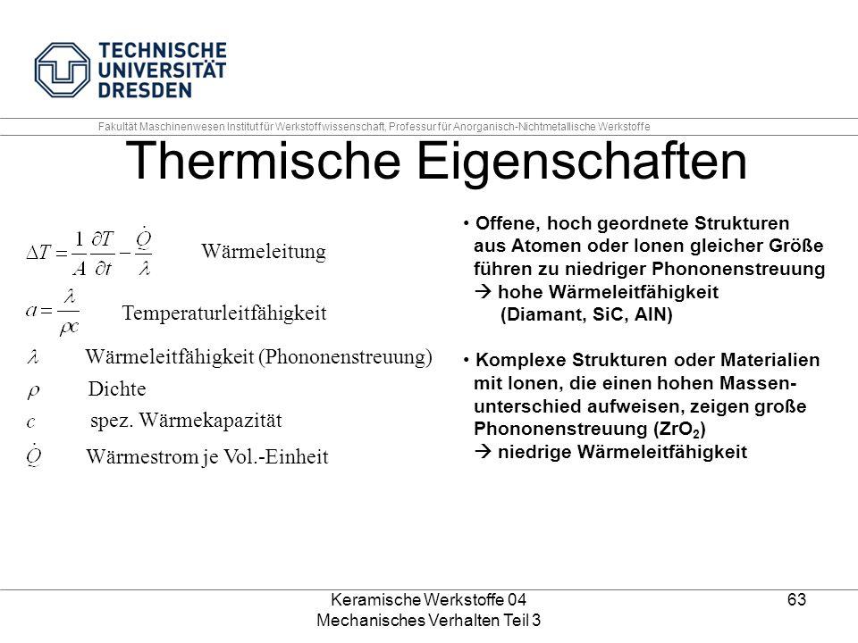 Keramische Werkstoffe 04 Mechanisches Verhalten Teil 3 63 Wärmeleitung Temperaturleitfähigkeit Wärmeleitfähigkeit (Phononenstreuung) Dichte spez. Wärm