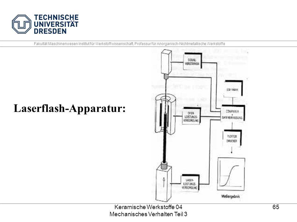 Keramische Werkstoffe 04 Mechanisches Verhalten Teil 3 65 Laserflash-Apparatur: Fakultät Maschinenwesen Institut für Werkstoffwissenschaft, Professur