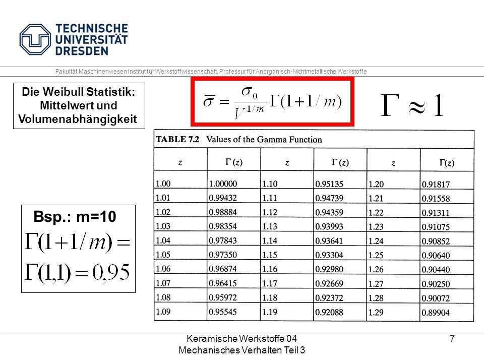 Keramische Werkstoffe 04 Mechanisches Verhalten Teil 3 7 Die Weibull Statistik: Mittelwert und Volumenabhängigkeit Bsp.: m=10 Fakultät Maschinenwesen