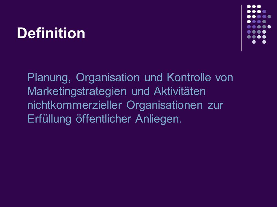 Definition Planung, Organisation und Kontrolle von Marketingstrategien und Aktivitäten nichtkommerzieller Organisationen zur Erfüllung öffentlicher Anliegen.