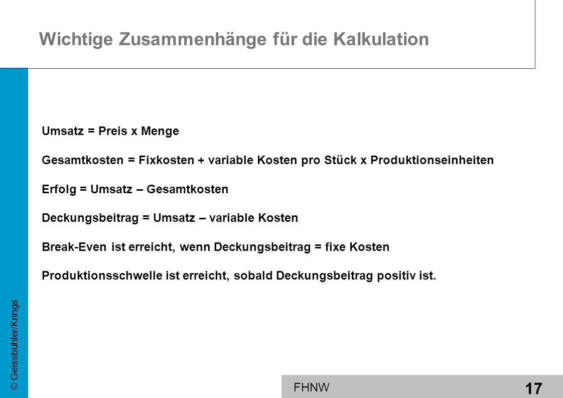 17 © Geissbühler/Krings FHNW Wichtige Zusammenhänge für die Kalkulation Umsatz = Preis x Menge Gesamtkosten = Fixkosten + variable Kosten pro Stück x