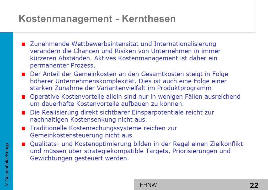 22 © Geissbühler/Krings FHNW Kostenmanagement - Kernthesen