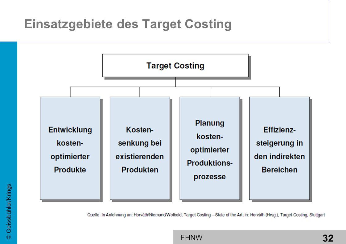 32 © Geissbühler/Krings FHNW Einsatzgebiete des Target Costing