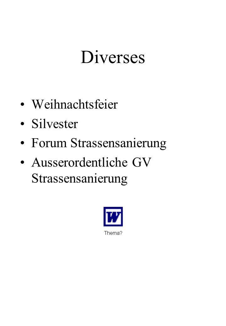 Diverses Weihnachtsfeier Silvester Forum Strassensanierung Ausserordentliche GV Strassensanierung