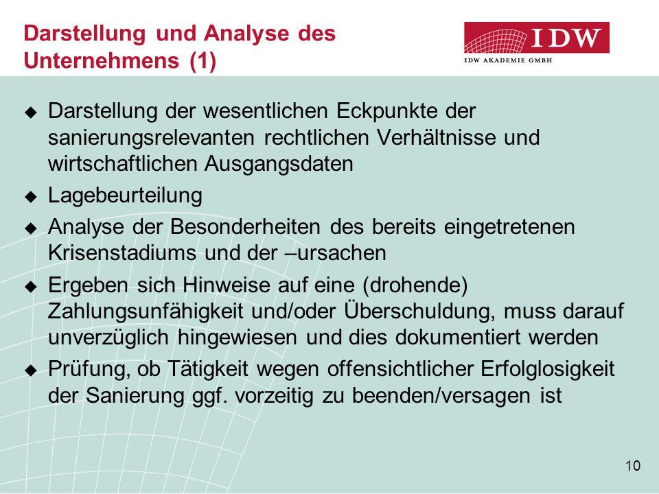 10 Darstellung und Analyse des Unternehmens (1)  Darstellung der wesentlichen Eckpunkte der sanierungsrelevanten rechtlichen Verhältnisse und wirtsch
