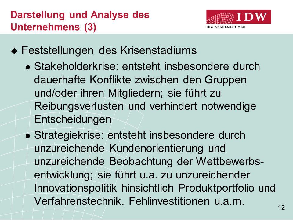 12 Darstellung und Analyse des Unternehmens (3)  Feststellungen des Krisenstadiums Stakeholderkrise: entsteht insbesondere durch dauerhafte Konflikte