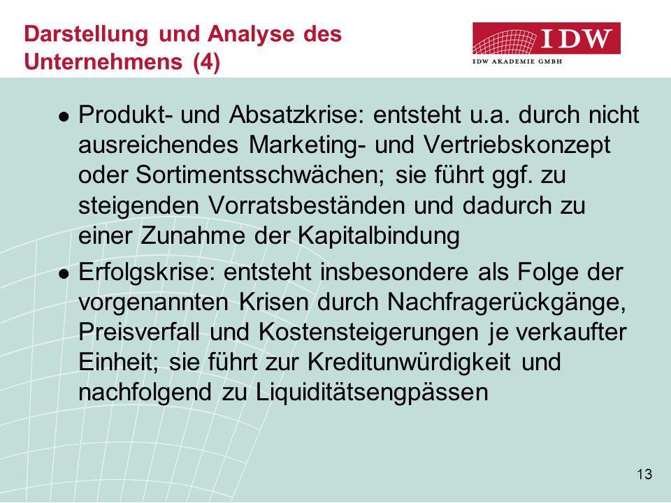 13 Darstellung und Analyse des Unternehmens (4) Produkt- und Absatzkrise: entsteht u.a. durch nicht ausreichendes Marketing- und Vertriebskonzept oder