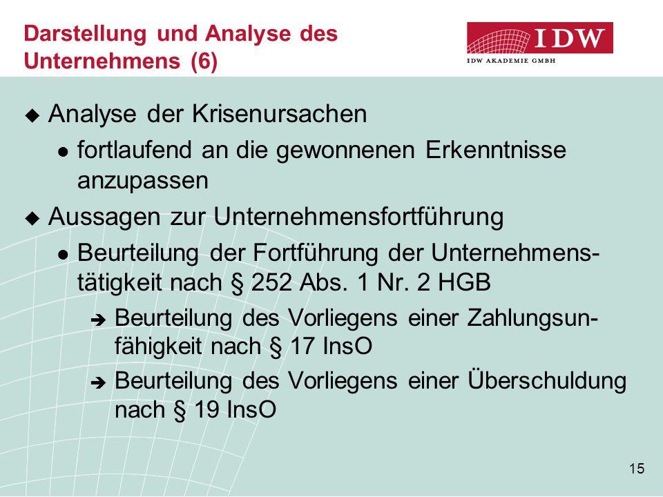 15 Darstellung und Analyse des Unternehmens (6)  Analyse der Krisenursachen fortlaufend an die gewonnenen Erkenntnisse anzupassen  Aussagen zur Unte