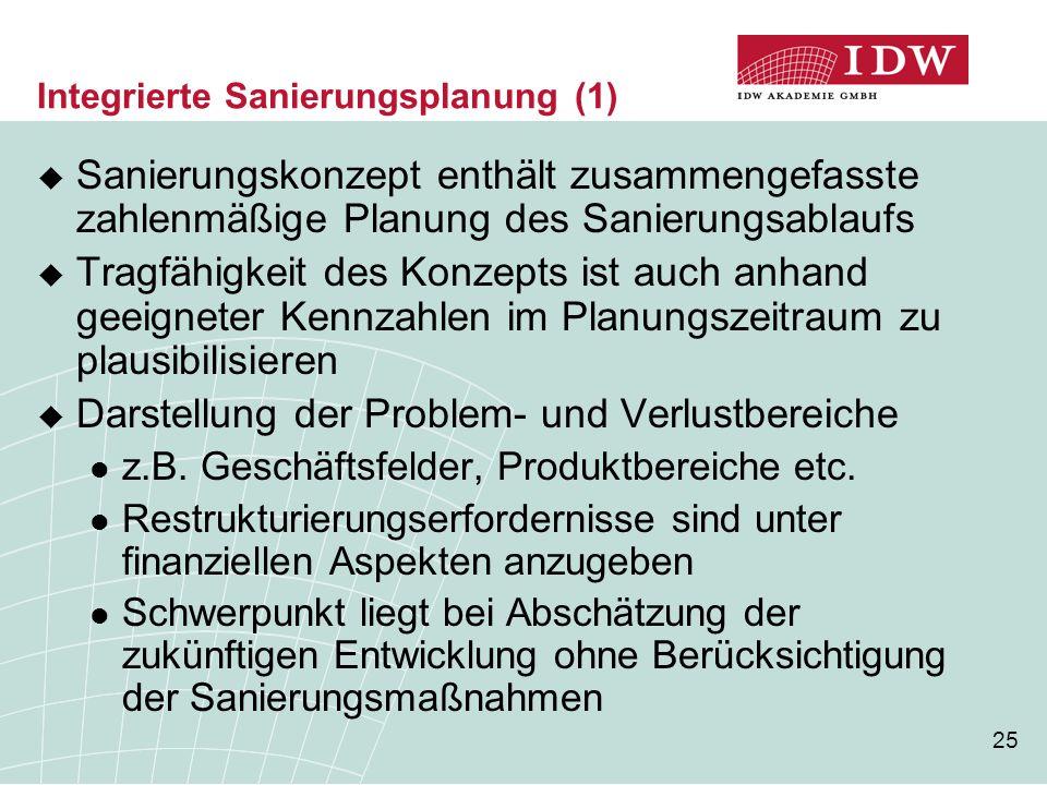 25 Integrierte Sanierungsplanung (1)  Sanierungskonzept enthält zusammengefasste zahlenmäßige Planung des Sanierungsablaufs  Tragfähigkeit des Konzepts ist auch anhand geeigneter Kennzahlen im Planungszeitraum zu plausibilisieren  Darstellung der Problem- und Verlustbereiche z.B.