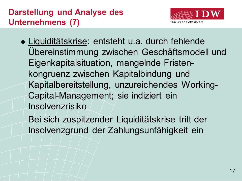 17 Darstellung und Analyse des Unternehmens (7) Liquiditätskrise: entsteht u.a.