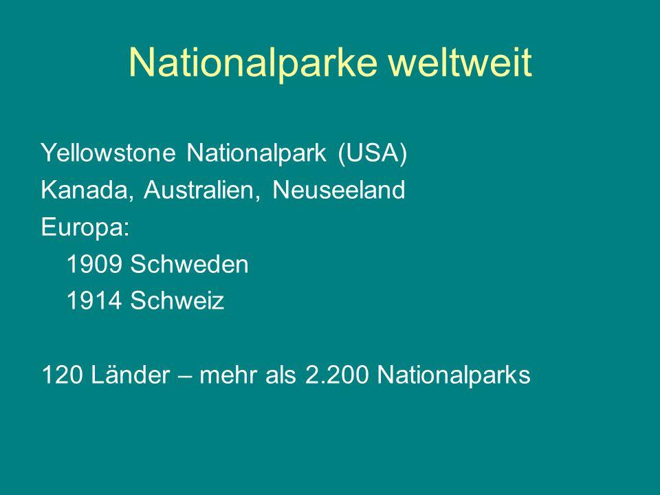 Nationalparke weltweit Yellowstone Nationalpark (USA) Kanada, Australien, Neuseeland Europa: 1909 Schweden 1914 Schweiz 120 Länder – mehr als 2.200 Na