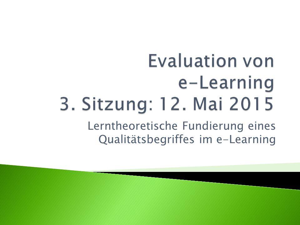 Lerntheoretische Fundierung eines Qualitätsbegriffes im e-Learning