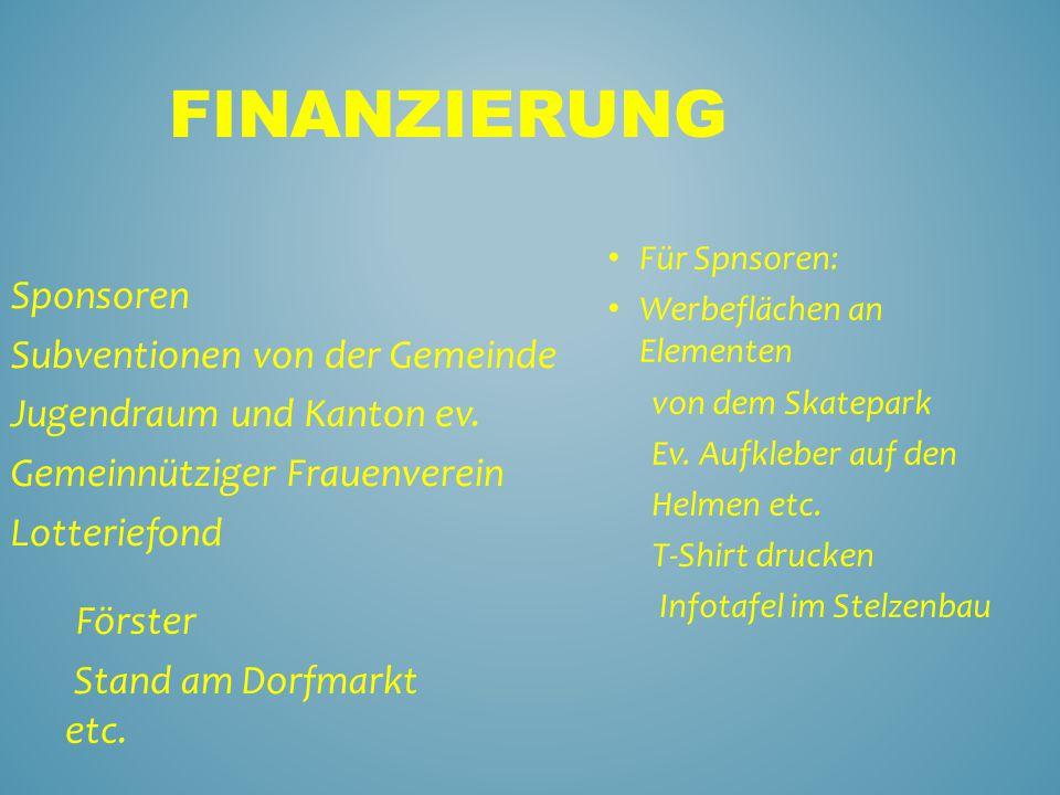 FINANZIERUNG Sponsoren Subventionen von der Gemeinde Jugendraum und Kanton ev.