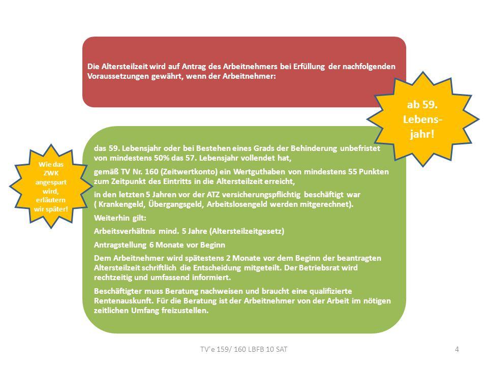 TV e 159/ 160 LBFB 10 SAT15 Teilzeitarbeitsentgelt entsprechend reduzierter Arbeitszeit (inkl.