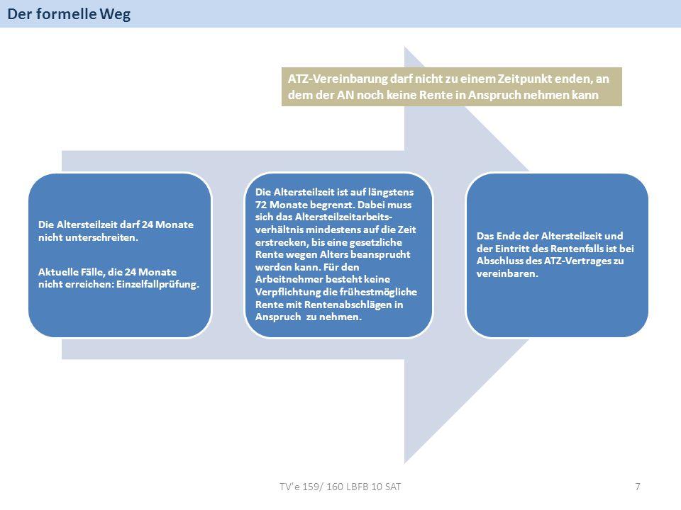 TV e 159/ 160 LBFB 10 SAT8 Verfügt der Arbeitnehmer über ein Wertguthaben nach dem TV ZWK mit mindestens 55 Wertguthabenpunkten, ist bei Abschluss der Altersteilzeitvereinbarung das Zeitwertkonto in ein Altersteilzeitwertguthabenkonto umzuwandeln.