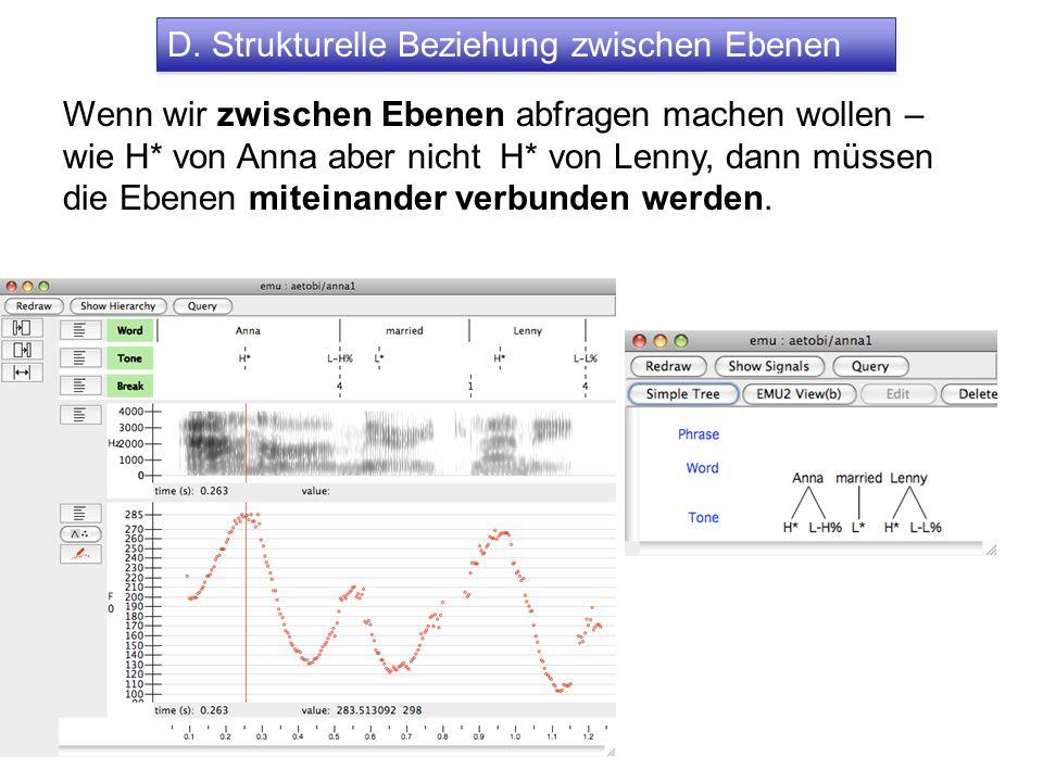 D. Strukturelle Beziehung zwischen Ebenen Wenn wir zwischen Ebenen abfragen machen wollen – wie H* von Anna aber nicht H* von Lenny, dann müssen die E