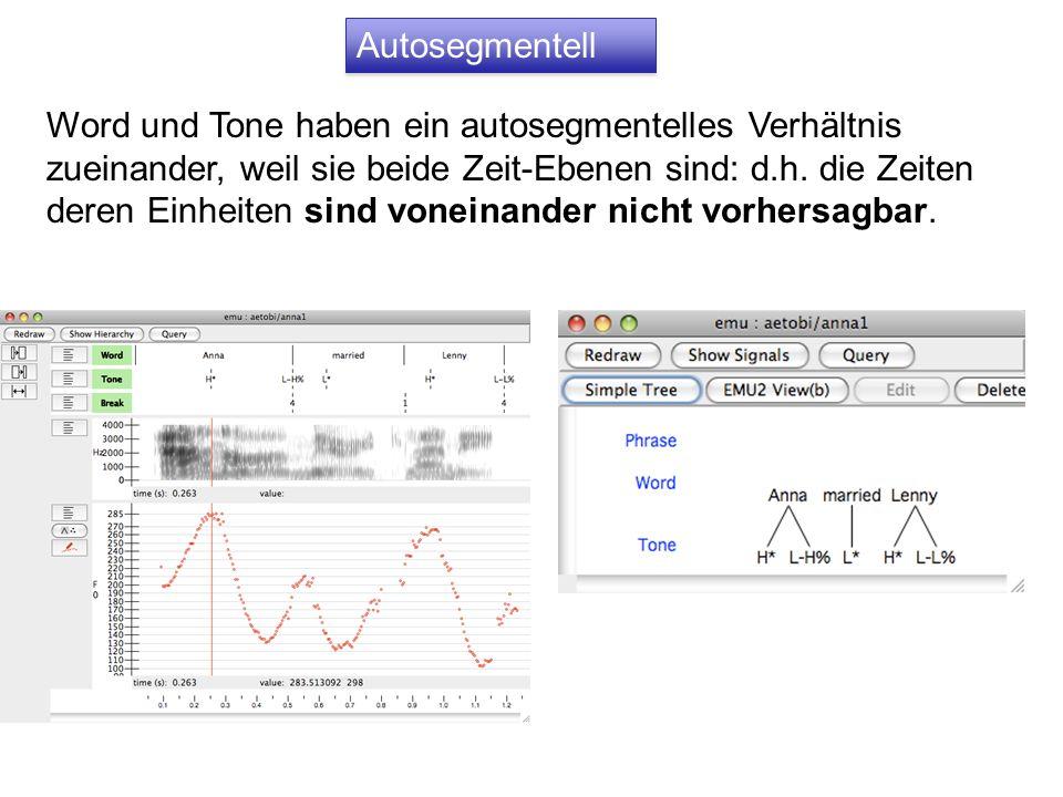 Autosegmentell Word und Tone haben ein autosegmentelles Verhältnis zueinander, weil sie beide Zeit-Ebenen sind: d.h.