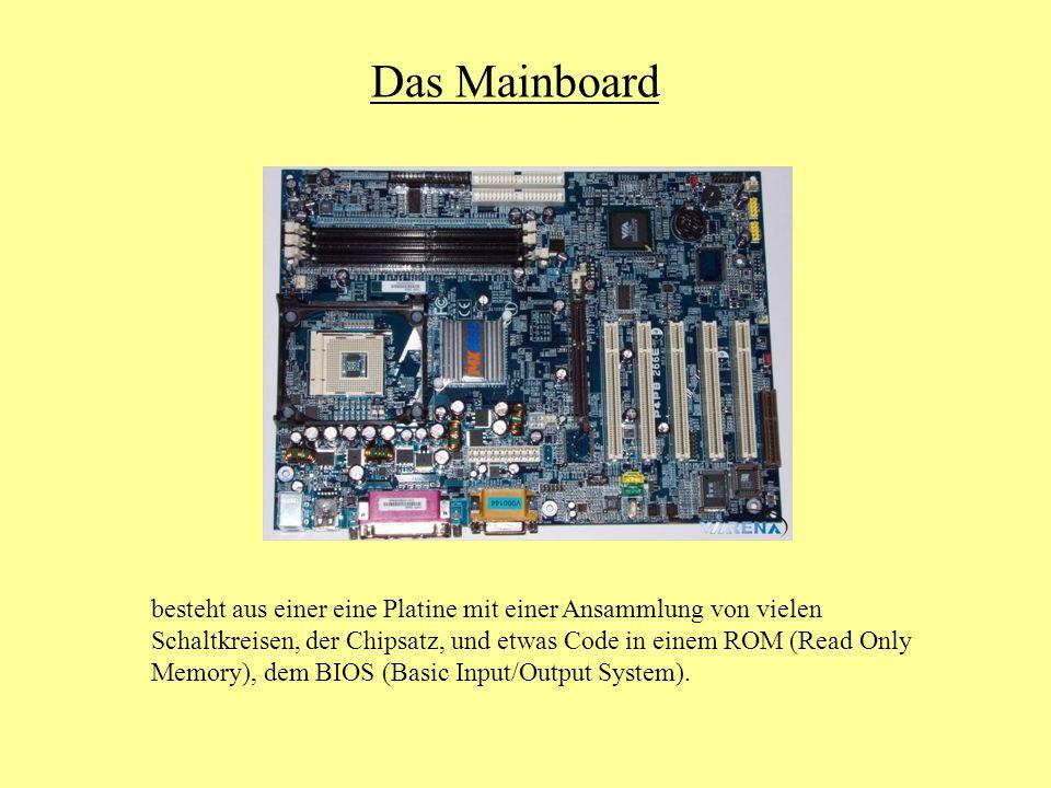 Das Mainboard besteht aus einer eine Platine mit einer Ansammlung von vielen Schaltkreisen, der Chipsatz, und etwas Code in einem ROM (Read Only Memory), dem BIOS (Basic Input/Output System).