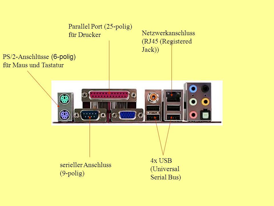 Parallel Port (25-polig) für Drucker PS/2-Anschlüsse (6-polig) für Maus und Tastatur Netzwerkanschluss (RJ45 (Registered Jack)) 4x USB (Universal Serial Bus) serieller Anschluss (9-polig)