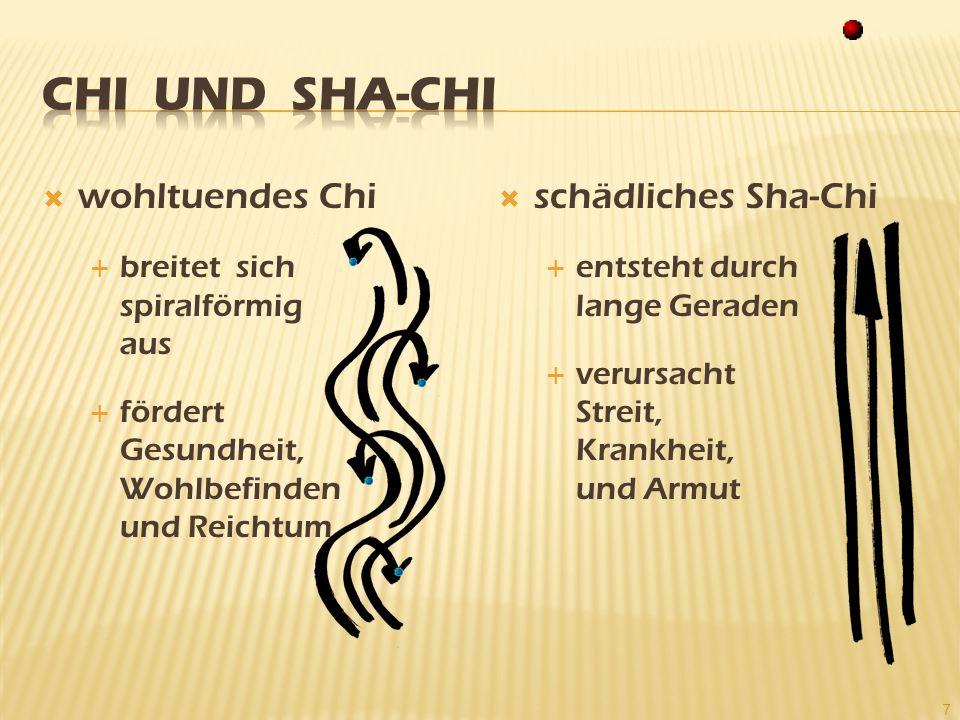  wohltuendes Chi  breitet sich spiralförmig aus  fördert Gesundheit, Wohlbefinden und Reichtum  schädliches Sha-Chi  entsteht durch lange Geraden