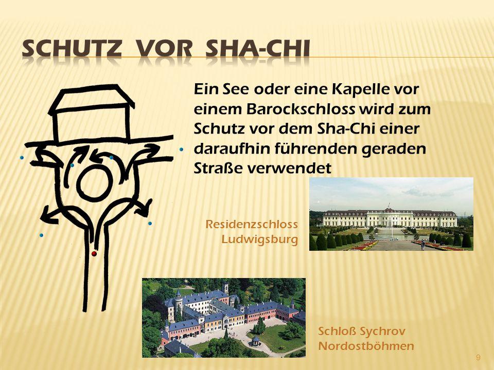 9 Ein See oder eine Kapelle vor einem Barockschloss wird zum Schutz vor dem Sha-Chi einer daraufhin führenden geraden Straße verwendet Residenzschloss