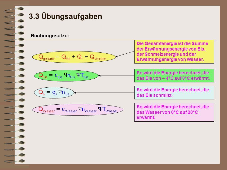 Rechengesetze: Die Gesamtenergie ist die Summe der Erwärmungsenergie von Eis, der Schmelzenergie und der Erwärmungenergie von Wasser. So wird die Ener
