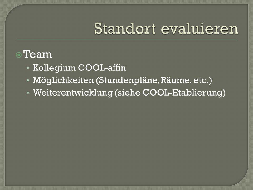  Team Kollegium COOL-affin Möglichkeiten (Stundenpläne, Räume, etc.) Weiterentwicklung (siehe COOL-Etablierung)