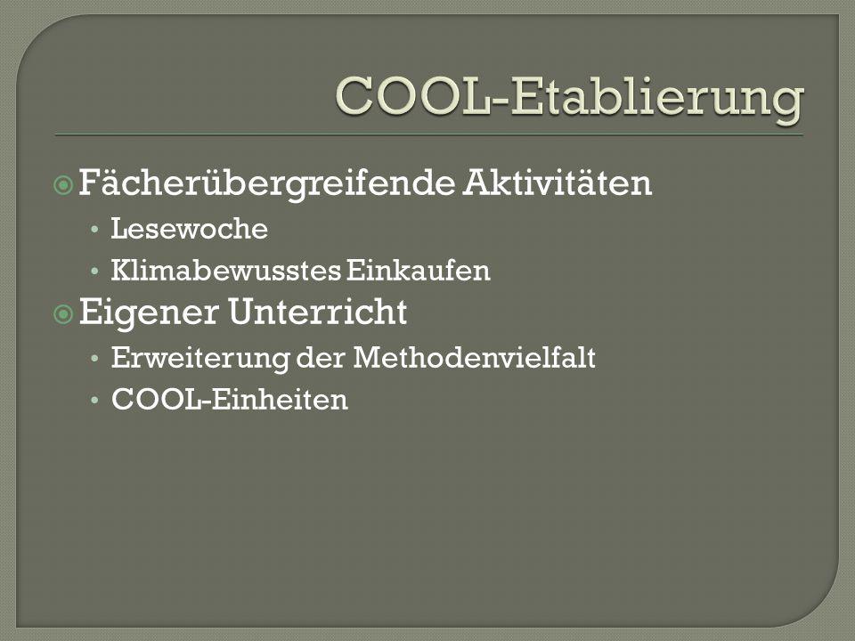  Fächerübergreifende Aktivitäten Lesewoche Klimabewusstes Einkaufen  Eigener Unterricht Erweiterung der Methodenvielfalt COOL-Einheiten