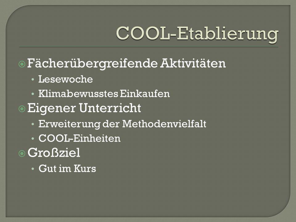  Fächerübergreifende Aktivitäten Lesewoche Klimabewusstes Einkaufen  Eigener Unterricht Erweiterung der Methodenvielfalt COOL-Einheiten  Großziel Gut im Kurs