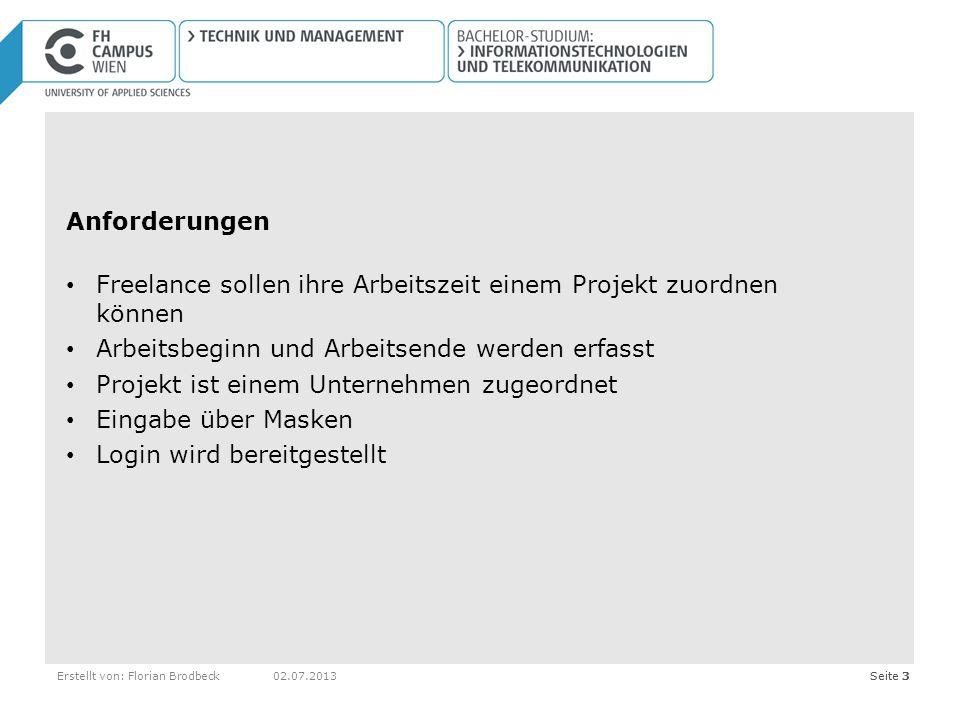 Seite 3Erstellt von: Florian Brodbeck02.07.2013Seite 3 Anforderungen Freelance sollen ihre Arbeitszeit einem Projekt zuordnen können Arbeitsbeginn und