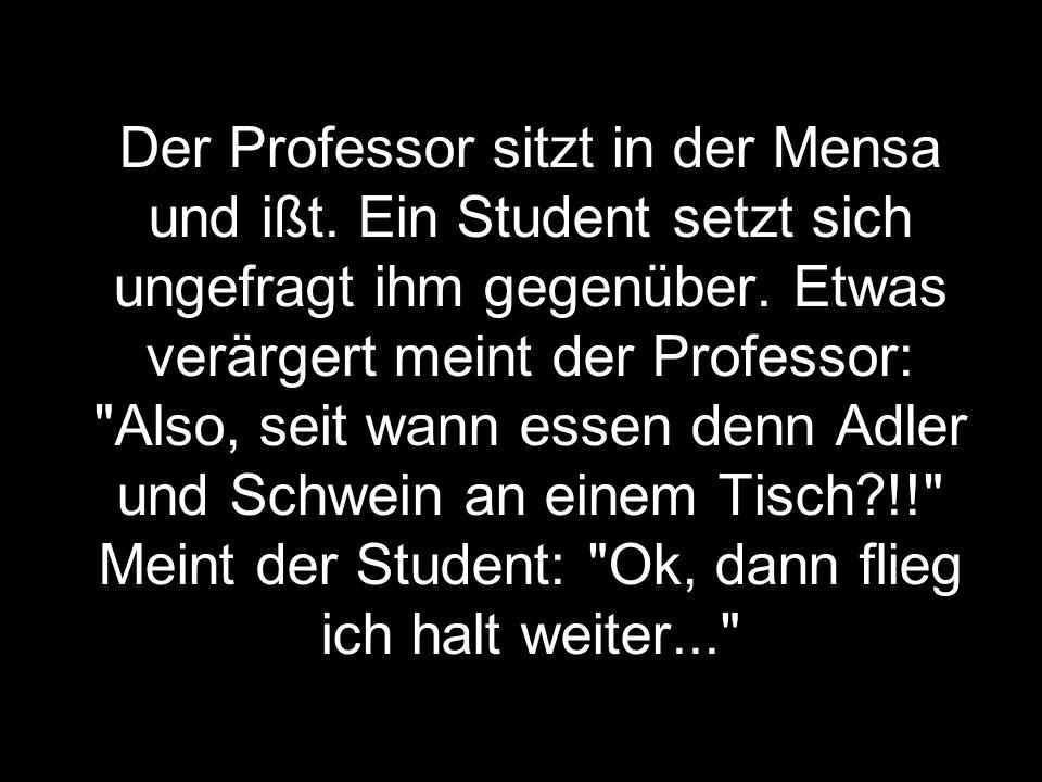 Der Professor sitzt in der Mensa und ißt.Ein Student setzt sich ungefragt ihm gegenüber.